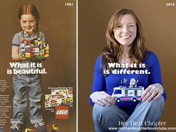 A menina da propaganda do Lego posa de novo anos depois pra mostrar que a neutralidade de gênero do brinquedo já era.